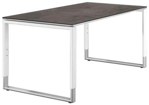 SCHREIBTISCH Grau, Silberfarben, Weiß - Silberfarben/Weiß, Design, Metall (180/68-82/80cm)