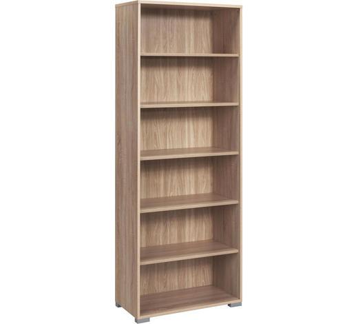 AKTENREGAL - Eichefarben/Silberfarben, KONVENTIONELL, Holz/Holzwerkstoff (80/215/40cm)