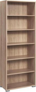 PISARNIŠKI REGAL  hrast - hrast/srebrna, Design, umetna masa/leseni material (80/215/40cm) - VOLEO