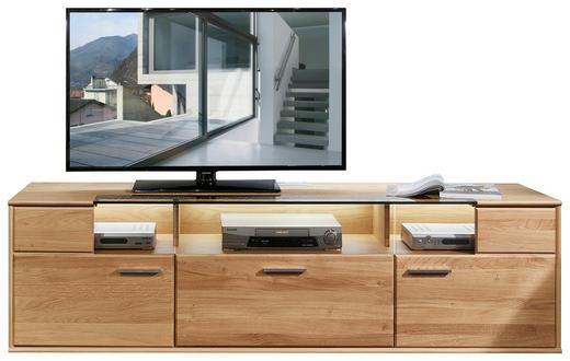 TV-ELEMENT Eiche furniert, massiv Eichefarben - Eichefarben/Alufarben, KONVENTIONELL, Holz/Holzwerkstoff (194/55/48cm) - Voleo