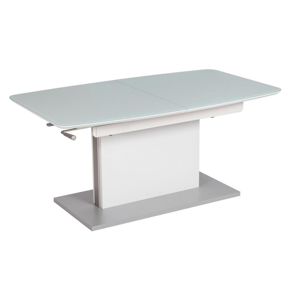 Couchtisch , Weiß , Metall, Glas , rechteckig , Bodenplatte , 70x55-74 cm , ausziehbar, höhenverstellbar , Wohnzimmer, Wohnzimmertische, Couchtische