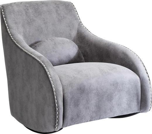 SCHAUKELSTUHL Mikrofaser Grau - Weiß/Grau, Design, Textil (76/83/74cm) - Kare-Design
