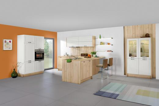 EINBAUKÜCHE - Buchefarben/Magnolie, Design, Holzwerkstoff/Kunststoff - Moderano