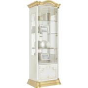 VITRÍNA, barvy zlata, bílá - bílá/barvy zlata, Lifestyle, kov/dřevěný materiál (76/209/53cm) - Cantus