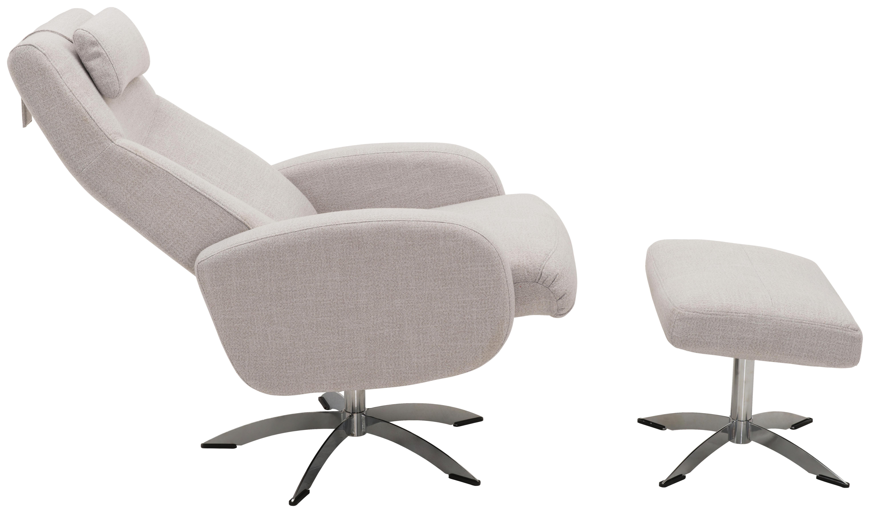 FÅTÖLJ OCH PALL - kromfärg/ljusgrå, Design, metall/textil (74/104/75cm) - Welnova