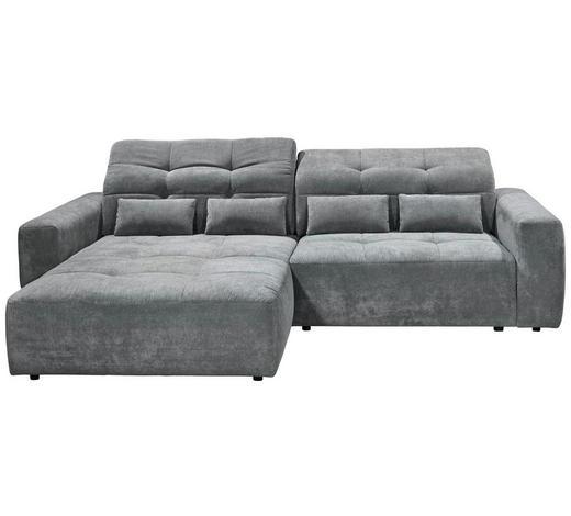 WOHNLANDSCHAFT in Textil Dunkelgrau - Dunkelgrau/Schwarz, MODERN, Kunststoff/Textil (202/298cm) - Hom`in