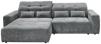 WOHNLANDSCHAFT Grau Velours  - Schwarz/Grau, MODERN, Kunststoff/Textil (202/298cm) - Hom`in
