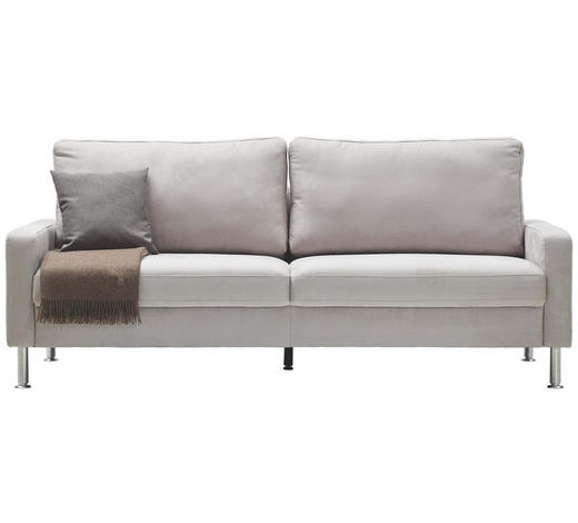 DREISITZER-SOFA in Textil Hellgrau  - Hellgrau/Alufarben, Design, Textil/Metall (204/86/97cm) - Pure Home Lifestyle