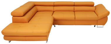 Ecksofa Echtleder Bettkasten - Chromfarben/Gelb, Design, Leder (235/280cm) - Voleo