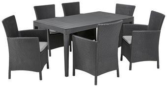 GARTENSET  13-teilig - Graphitfarben, Design, Kunststoff/Textil (160/74/90cm) - ALLIBERT