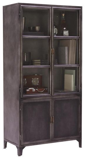 VITRINSKÅP - grå/nickelfärgad, Trend, metall/glas (90/180/45cm) - Ambia Home