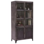 VITRÍNA, šedá - šedá/barvy niklu, Trend, kov/sklo (90/180/45cm) - Ambia Home