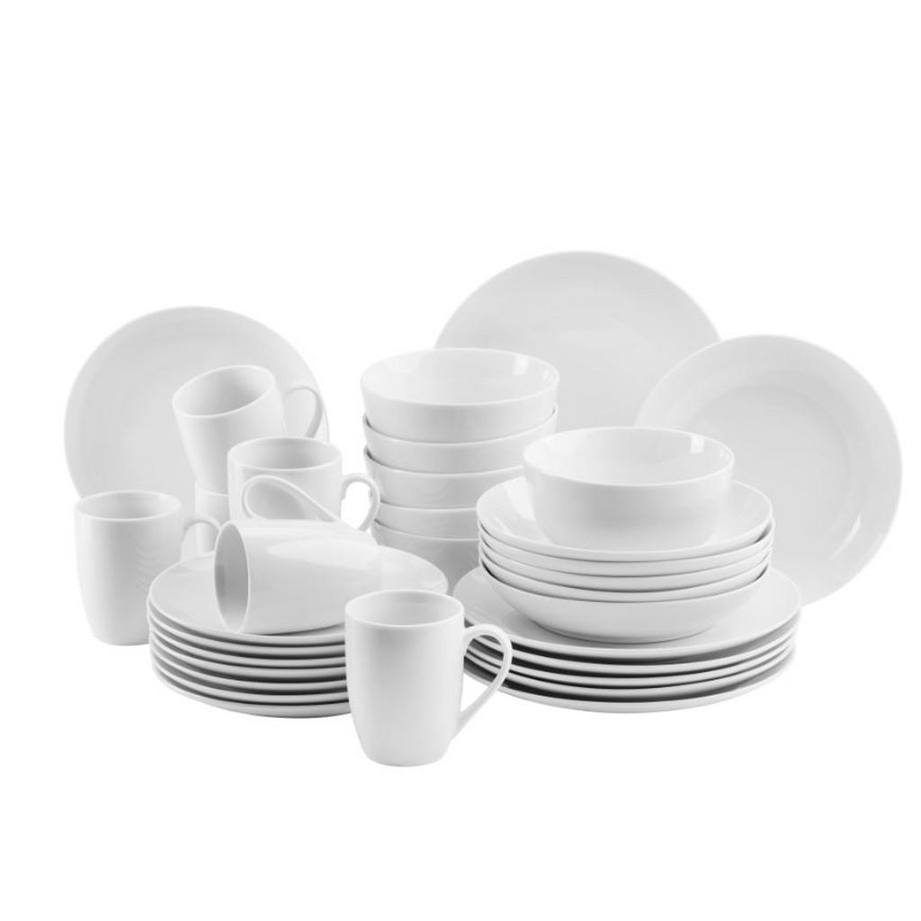 Mäser Kombiservice , Weiß , Keramik , 30-teilig , 290 ml , Essen & Trinken, Geschirr, Geschirrsets, Kombiservice