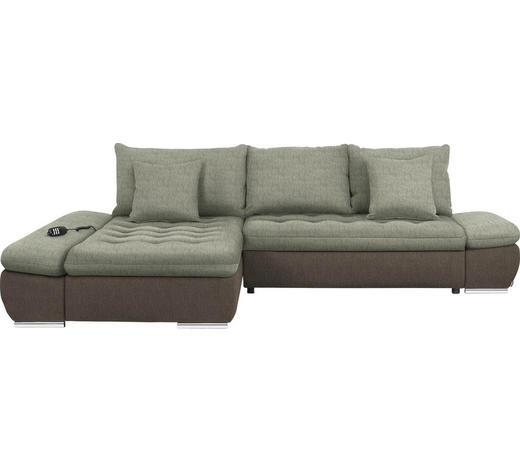WOHNLANDSCHAFT in Textil Taupe, Beige - Taupe/Chromfarben, Design, Textil/Metall (200/309cm) - Hom`in