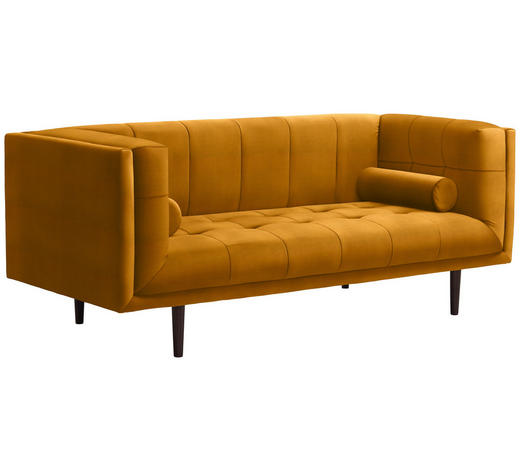 SOFA in Textil Gelb - Dunkelbraun/Gelb, Design, Holz/Textil (200/80/87cm) - Carryhome