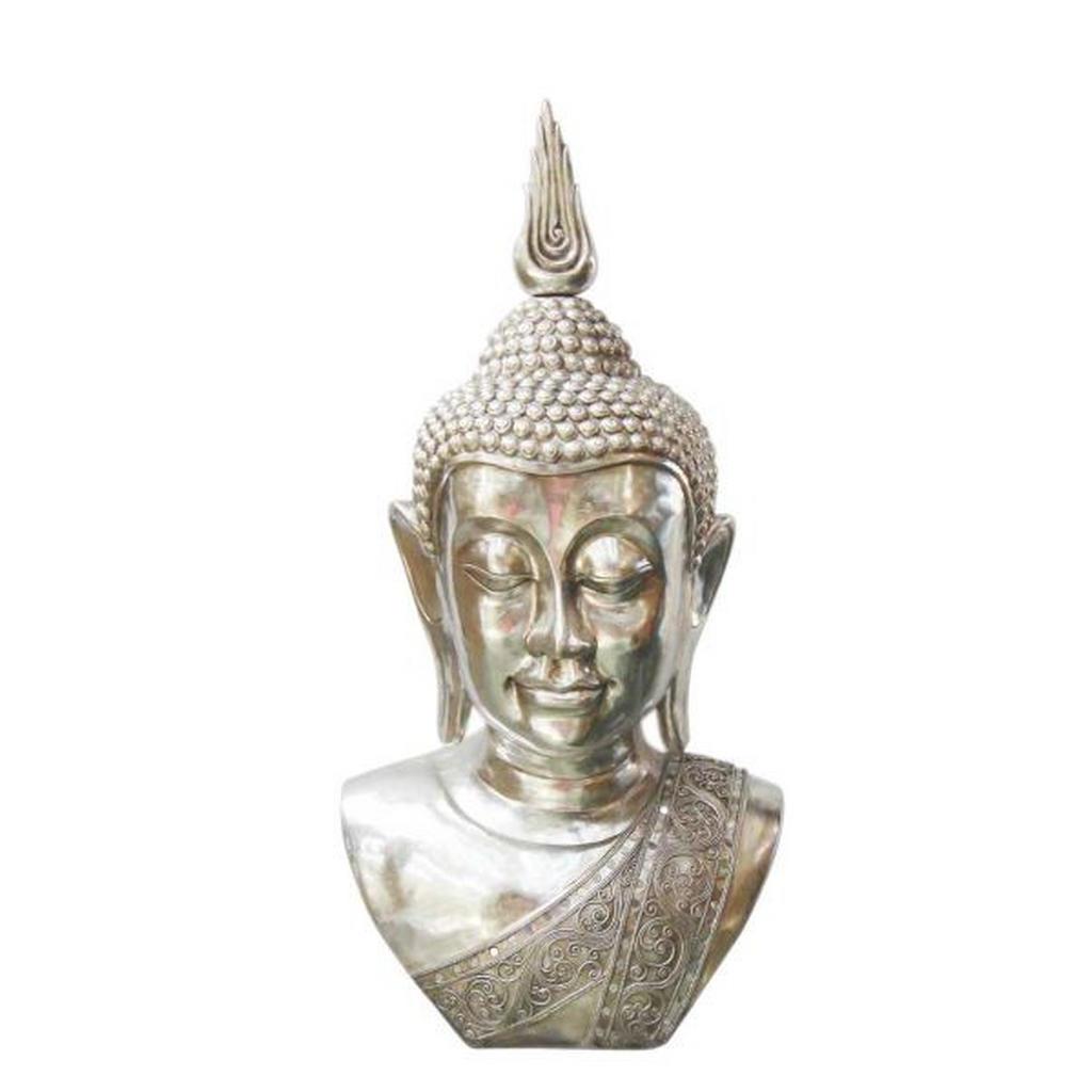 Image of Ambia Home Buddhakopf 62/98 cm , Ny1440954 , Silberfarben , Kunststoff , 62x98 cm , zum Stellen , 0083060223