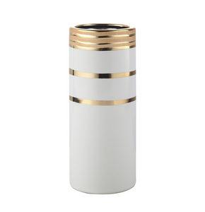 VAS - vit/guldfärgad, Modern, keramik (10/28cm) - Ambia Home