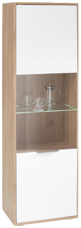VITRINE Eichefarben, Weiß - Edelstahlfarben/Eichefarben, Design, Glas/Holzwerkstoff (61/195/42cm) - Hom`in