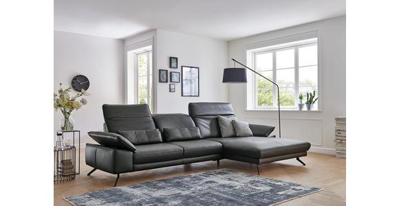 WOHNLANDSCHAFT in Leder Anthrazit  - Anthrazit/Schwarz, Design, Leder/Metall (193/328cm) - Dieter Knoll