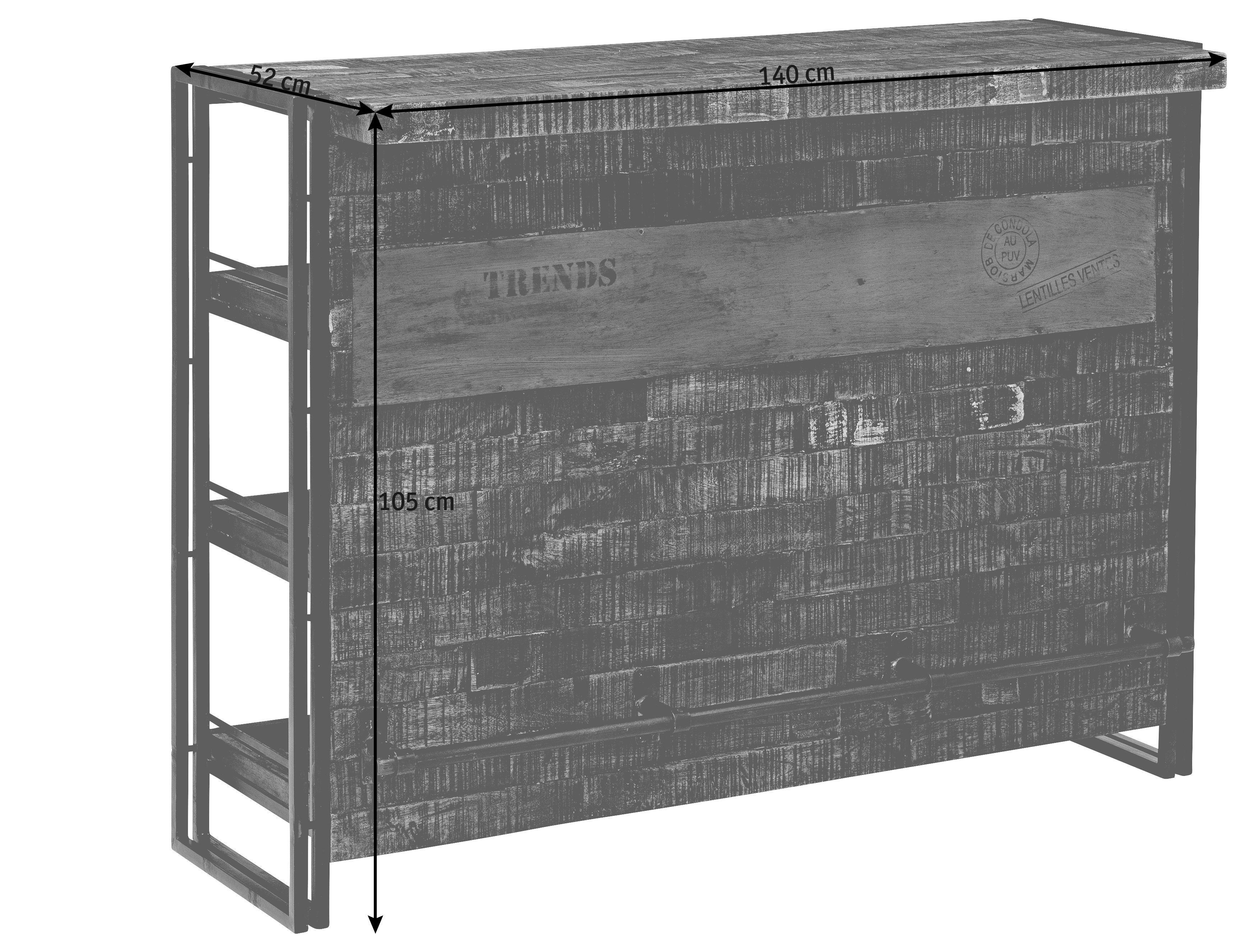 BAR in Braun, Schwarz - Schwarz/Braun, Design, Holz/Metall (140/105/52cm)