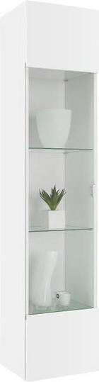 ZÁVĚSNÁ VITRÍNA, bílá - bílá/barvy chromu, Design, dřevěný materiál/umělá hmota (35/160/30cm)