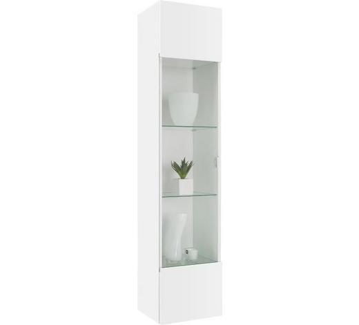 ZÁVĚSNÁ VITRÍNA, bílá - bílá/barvy chromu, Design, kompozitní dřevo/umělá hmota (35/160/30cm)