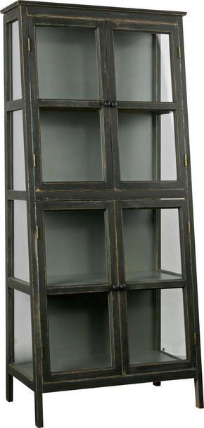 VITRINSKÅP - svart, Design, trä/glas (79/173/45,5cm) - Ambia Home