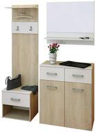ŠATNA - bílá/barvy dubu, Konvenční, dřevěný materiál/sklo (130/185/37cm) - BOXXX