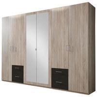 KLEIDERSCHRANK in Braun, Eichefarben - Eichefarben/Silberfarben, Design, Glas/Holzwerkstoff (270/210/58cm) - CARRYHOME