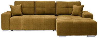 WOHNLANDSCHAFT in Textil Gelb  - Gelb/Silberfarben, MODERN, Kunststoff/Textil (280/194cm) - Carryhome