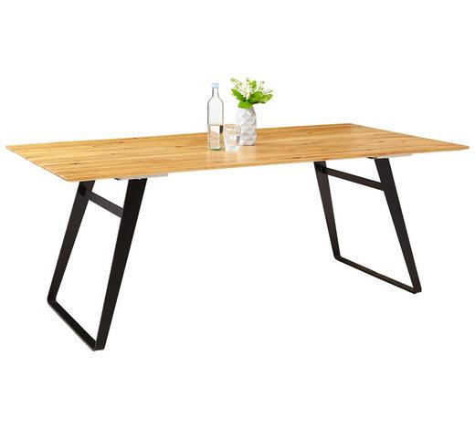 ESSTISCH Eiche massiv rechteckig Schwarz, Eichefarben  - Eichefarben/Schwarz, Design, Holz/Metall (200/100/77cm) - Musterring