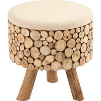 HOCKER - Braun, LIFESTYLE, Holz/Textil (43/43/46cm) - Ambia Home