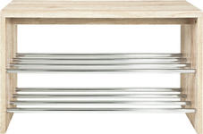 SCHUHBANK 81/55/30 cm  - Eichefarben, Design, Holzwerkstoff/Metall (81/55/30cm) - Carryhome