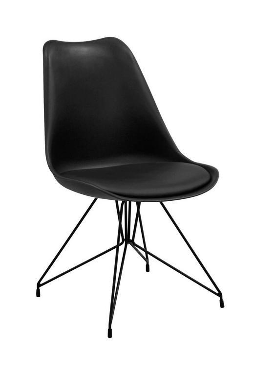 STUHL Lederlook Schwarz - Schwarz, Design, Kunststoff/Textil (49/83/54cm) - Ambia Home