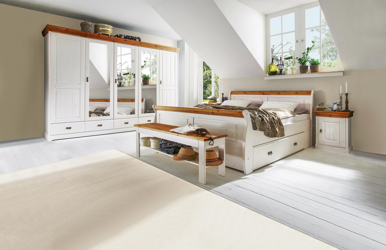 GroBartig SCHLAFZIMMER Kieferfarben, Weiß Weiß/Kieferfarben, Basics, Holz (180/200cm