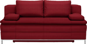 BOXSPRINGSOFA in Textil Rot  - Chromfarben/Rot, Design, Textil/Metall (200/93/107cm) - Novel