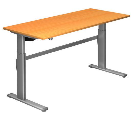 SCHREIBTISCH - Silberfarben/Buchefarben, Design, Holzwerkstoff/Metall (180/72-119/80cm)