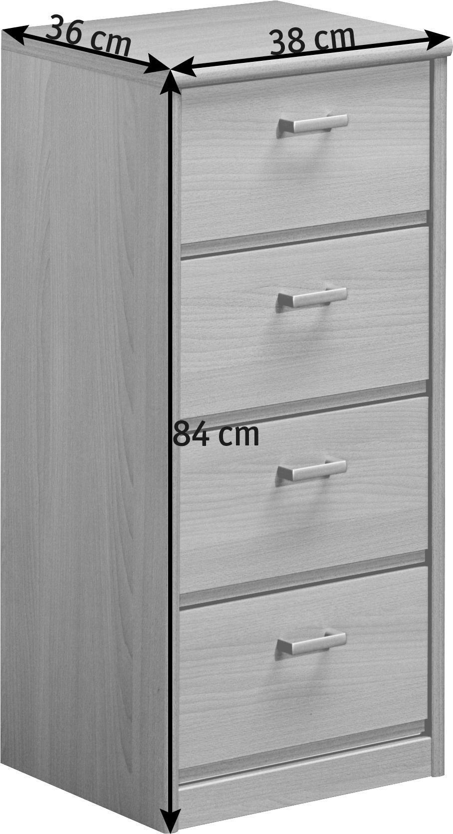 KOMMODE in Ahornfarben - Ahornfarben/Alufarben, KONVENTIONELL, Holzwerkstoff/Kunststoff (38/84/36cm) - CS SCHMAL