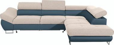 WOHNLANDSCHAFT in Textil Petrol, Beige  - Chromfarben/Beige, Design, Textil/Metall (280/235cm) - Hom`in
