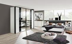 SCHLAFZIMMER in Graphitfarben, Weiß - Graphitfarben/Weiß, Design, Glas/Holzwerkstoff (180/200cm) - Xora