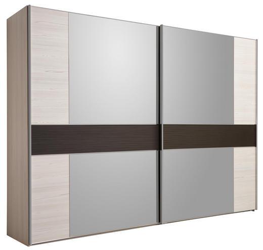 SCHWEBETÜRENSCHRANK 2-türig Hellbraun, Lärchefarben - Hellbraun/Chromfarben, Design, Glas/Holzwerkstoff (300/217/67cm) - Dieter Knoll