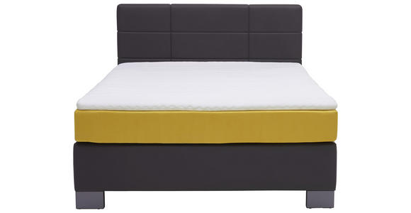 BOXSPRINGBETT 140/200 cm  in Anthrazit, Gelb  - Anthrazit/Gelb, Design, Textil (140/200cm) - Hom`in