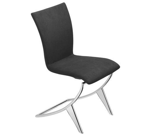 STUHL in Metall, Leder Schwarz, Chromfarben - Chromfarben/Schwarz, Design, Leder/Metall (46/92/62cm) - Bacher