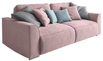 SCHLAFSOFA Webstoff Pink - Pink/Silberfarben, Design, Kunststoff/Textil (250/87/129cm) - Carryhome