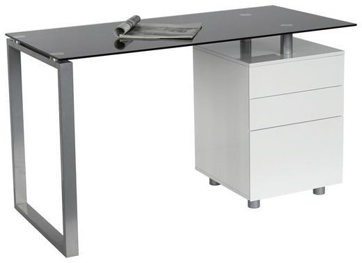 SCHREIBTISCH Schwarz, Silberfarben, Weiß - Silberfarben/Schwarz, Design, Glas/Metall (130/76/62cm) - Xora