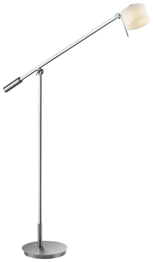 BOGENLEUCHTE - Weiß/Nickelfarben, Design, Glas/Metall (100,0/155,0cm)