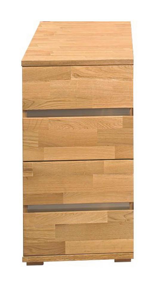 ANSTELLCONTAINER - Edelstahlfarben/Eichefarben, KONVENTIONELL, Holz/Metall (40/75/80cm) - Linea Natura