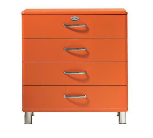 KOMMODE lackiert, Melamin Orange  - Orange/Nickelfarben, Design, Metall (86/92/41cm) - Carryhome