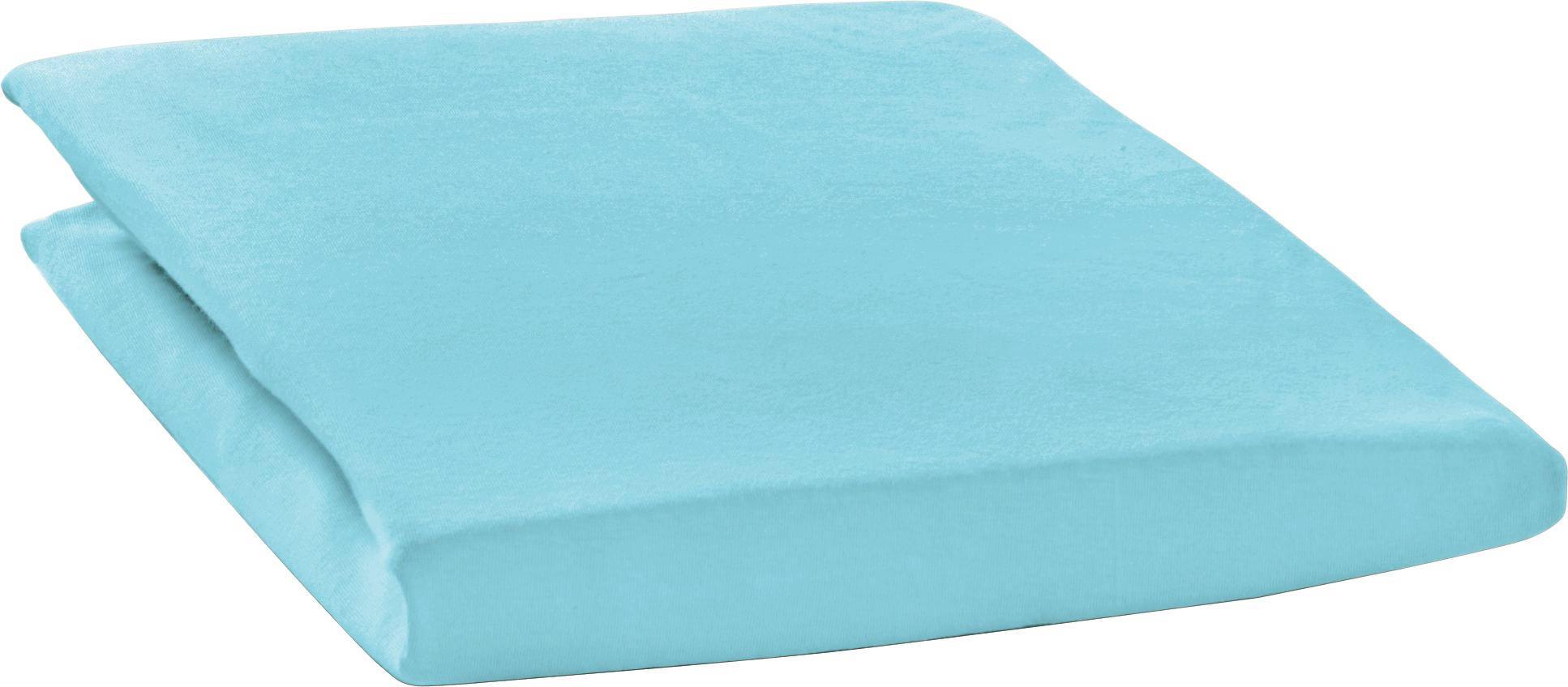 SPANNBETTTUCH Zwirn-Jersey Türkis bügelfrei, für Wasserbetten geeignet - Türkis, Basics, Textil (200/200cm) - ESTELLA