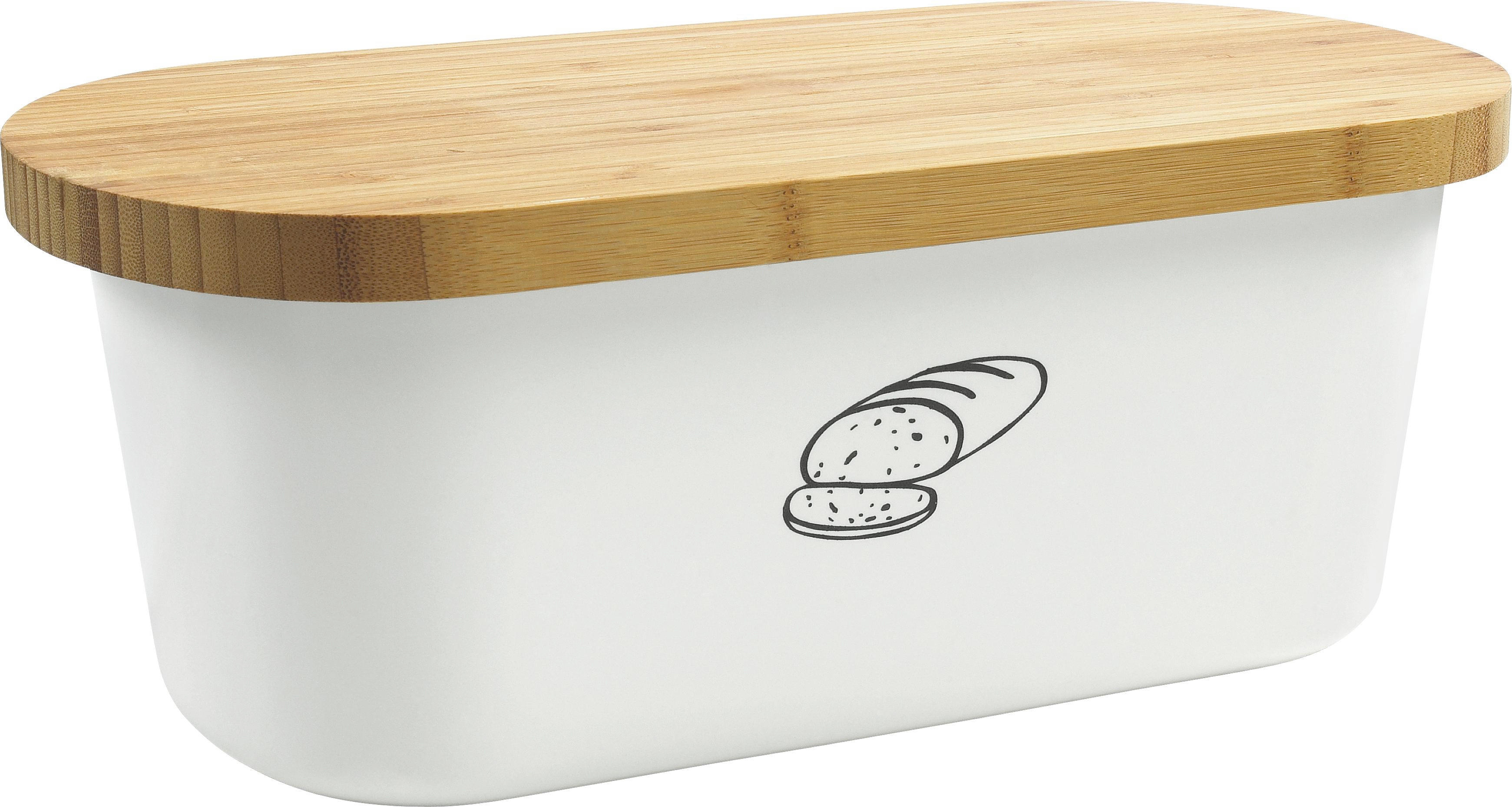 BROTBOX - Braun/Weiß, Basics, Holz/Kunststoff (34/18/13cm)